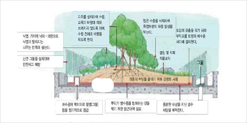 옥상정원의 유형:대도시의 경우 생활권 공원면적 1㎡/1인 확보를 위해서 천문학적인 비용이 소요된다. 이처럼 지상에서 불가능한 녹지량을 확보할 수 있는 유일한 대안이 옥상이다. 건축물의 옥상을 정원화함으로써 얻어지는 효과로는 건축물의 가치상승, 지상의무 조경면적을 대체, 에너지 비용의 절감 및 건축물의 보호효과 등이 있다.